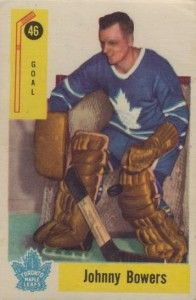 Parkhurst had an on-going issue with the great Johnny Bower in the 1950′s. Not once, but twice they mis-spelled his name on his hockey card. In 1954-55, it was Johnny Bowers on his rookie card and in 1958-59, it was the same spelling mistake on the hockey card. Both are classified as UER or uncorrected errors.