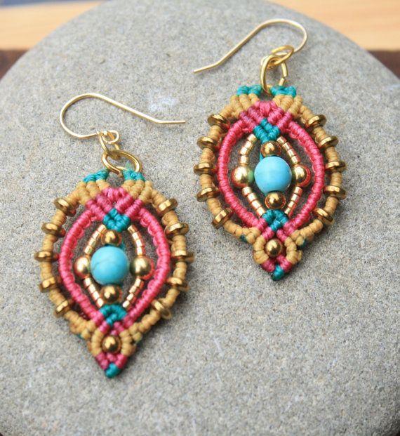 teardrop summer macrame earrings