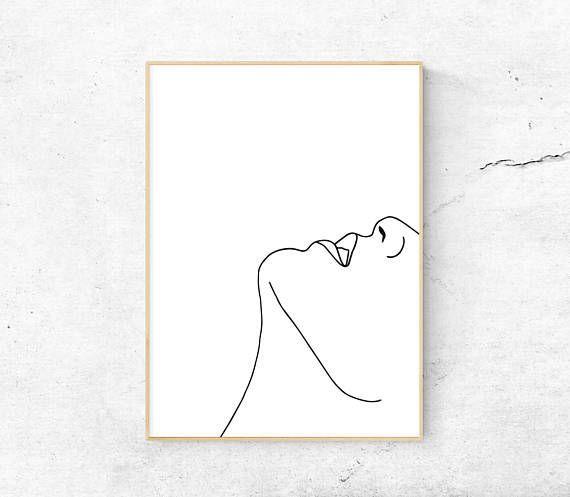 Weißes abstraktes Gesicht, Körper druckbare Kunst, minimalistischer Druck, moderne Kunst, Strichzeichnungen, Home Dekor, Digital