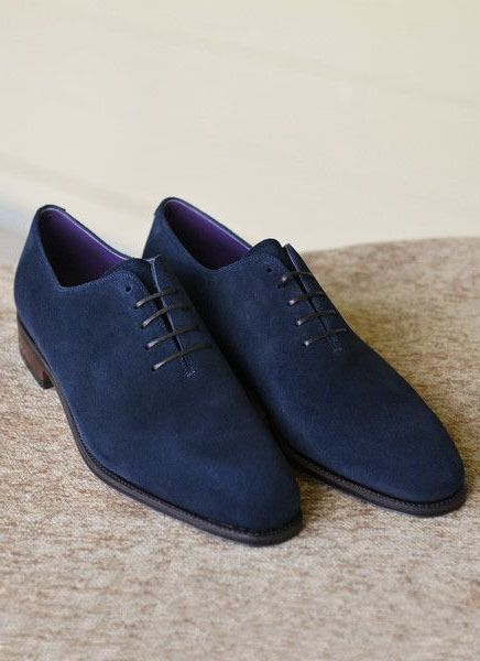 Handmade Navy Blue Suede Derby shoes c54cdacfc7d