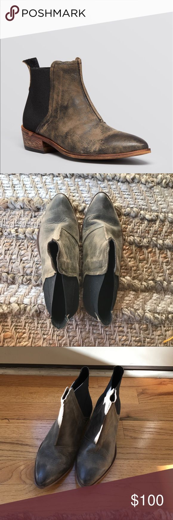 Free People Flat Chelsea Boot Sz. 7 Worn only once. A beautiful pair of Chelsea boots by Free People. They are a size 37 or 7 and fit true to size in my opinion. They are a great boot for every day and so cute with many outfits. Have a greenish/ brown color to them. Please ask any questions! Sold out! Modeled pic shown in other color scheme. Free People Shoes Ankle Boots & Booties