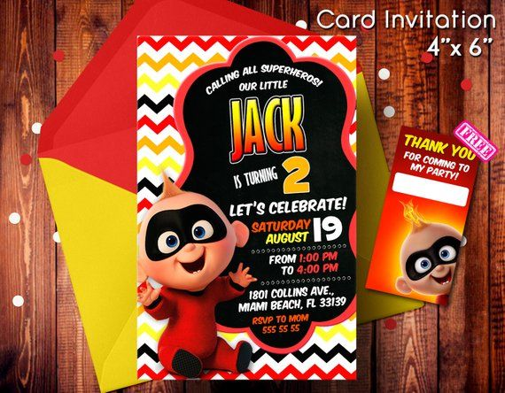 The Incredibles Invitation The Incrediles 2 The Incrediles