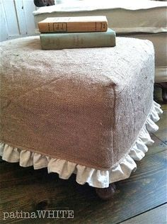 Oh, oh, oh, I need to do this for my little cube ottoman! ~burlap slip cover with ruffle