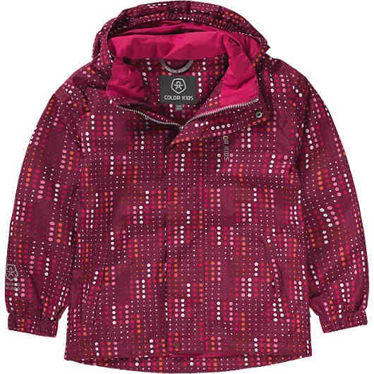 Sämtliche Nähte der wasserdichten COLOR KIDS Regenjacke BEIRUT für Mädchen sind sicher verschweißt. Das Meshfutter ist leicht und ergänzt die Atmungsaktivität. <br /> <br /> - wasserdicht, winddicht (Wassersäule >10.000 mm)<br /> - atmungsgsaktiv (Atmungsaktivität: >3.000 g/m²/24h)<br /> - reflektierende Elemente zur besseren Sichtbarkeit im Dunkeln<br /> - abnehmbare Kapuze mit elastischer Kante und Schirm<br /> - schützender Stehkragen<br /> - unterlegter Reißverschluss mit Kinnschutz<br…
