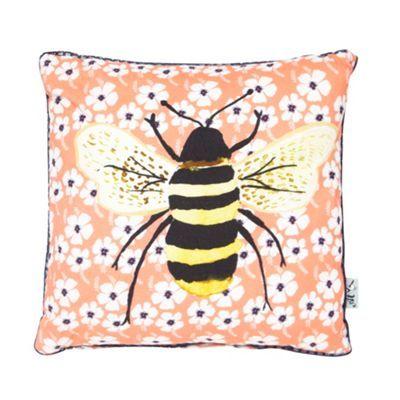 Ashley Thomas at Home Coral floral bee cushion- at Debenhams.com