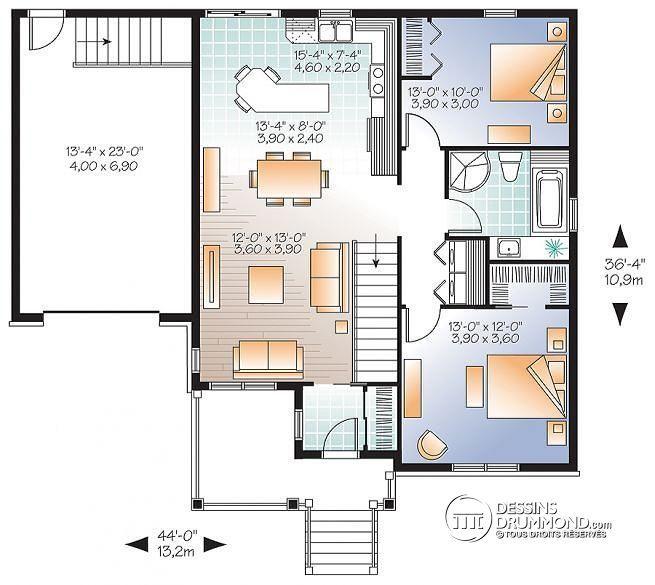 Ordinary Plan De La Cuisine #12: Plan De Rez-de-chaussée Bungalow Champêtre Avec Garage, Accès Au Sous-