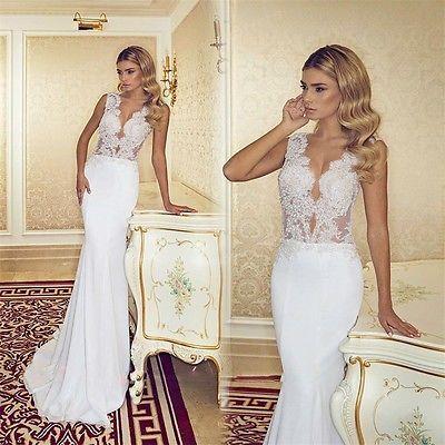 Sexy V Neck Beach Wedding Dress White/Ivory Mermaid Lace Garden Bridal Gown New