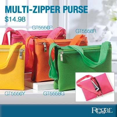 """MULTI ZIPPER PURSE  Add a pop of summer colour! Faux leather fold over purse features 2 outside zippered pockets to hold all of your necessities. Adjustable strap allows you to wear over the shoulder or cross the body, extends to 43"""". (9""""W x 6-1/2""""H)"""