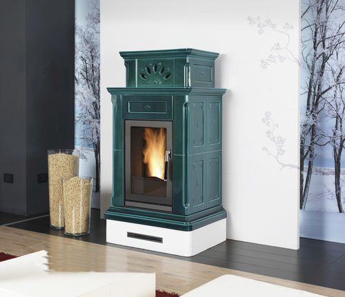 PIAZZETTA Contemporary Heating Stove Ceramic Wood Pellet CANAZEI