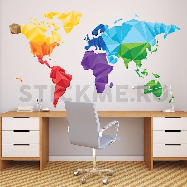 Большая виниловая наклейка на стену Карта мира полигональная. Все цвета мира у вас на стене, фейсбук и инстаграмм стерли  границы стран. Вот что получилось)))