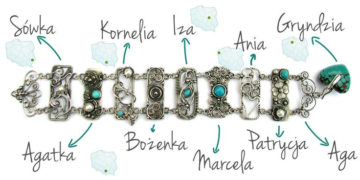 Sterling silver bracelet with turquoise and pearls - made by 10 of my artist-friends <3 Wire-wrapping, metalsmithing and lots of love from all over the country :)