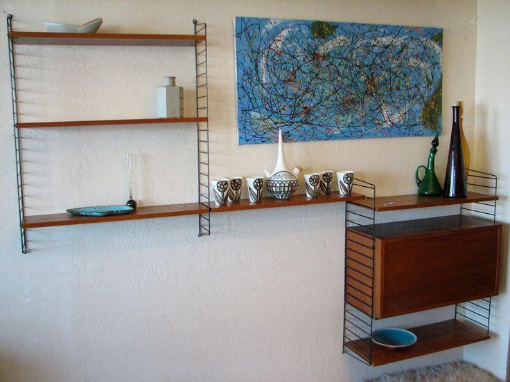 Vintage Wall Unit Swedish String Shelf By Nils Strinning Mid Century Modern Modular Shelving With Storage Cabinet