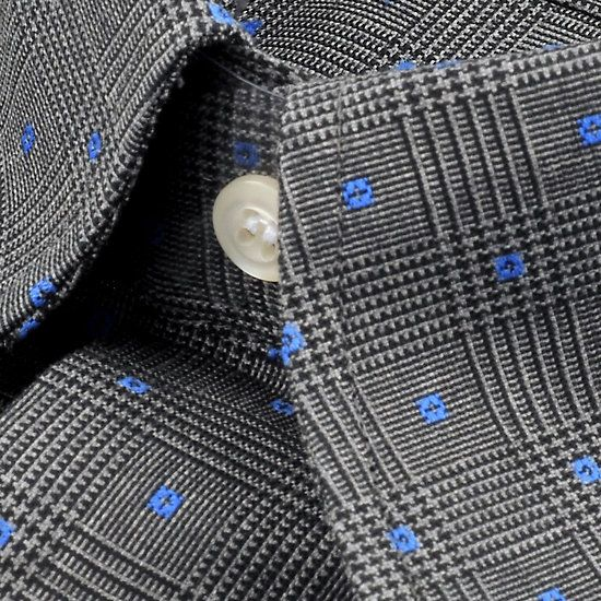 Hugo - Col boutonné à petits carreaux gris noir et bleu