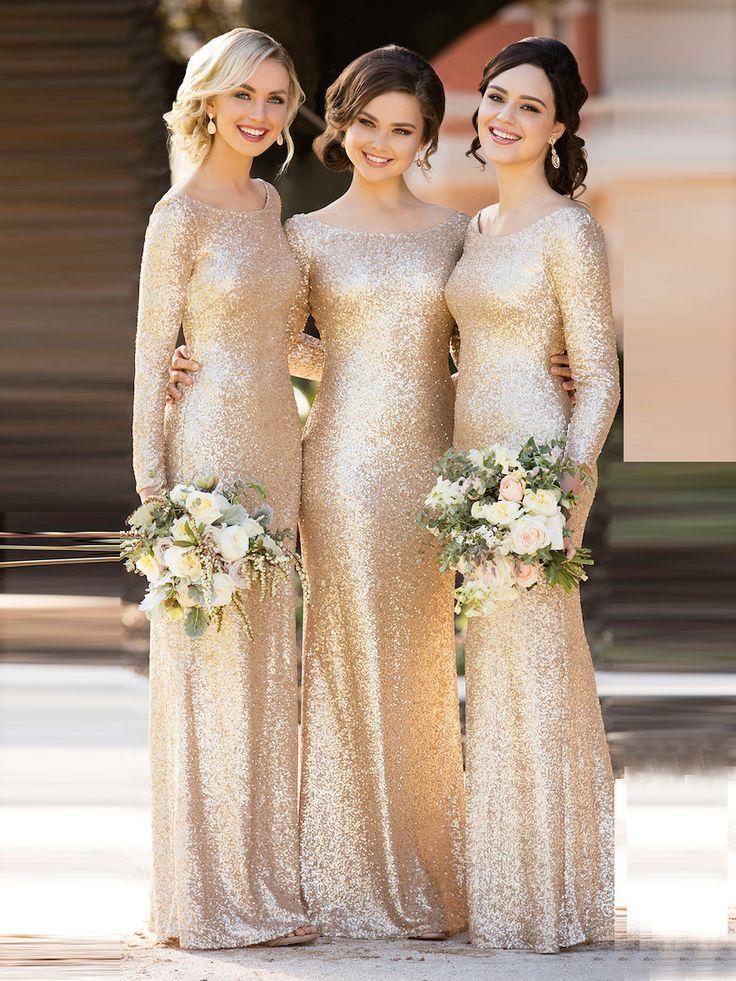 Sheath/Column Bridesmaid Dresses Bateau Long Bridesmaid Dresses kmy527