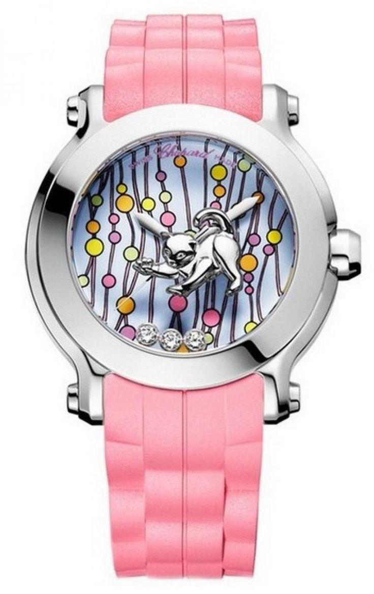 Chopard 128707/3001 Animal World Classic Femme - швейцарские женские часы - наручные, стальные с бриллиантами, розовые, дизайнерские