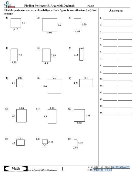 Finding Perimeter & Area with Decimals worksheet ...
