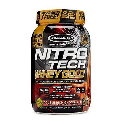 MuscleTech Nitro-Tech 100 Whey Protein Gold - Double Rich Chocolate 2.5 lbs.7  UPC - 631656710458