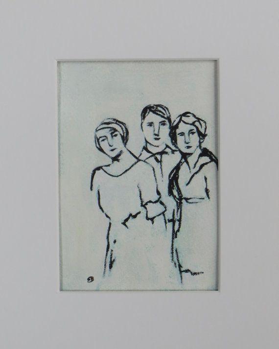 Drie vrienden origineel schilderij door door ArtbyElizabethBauman