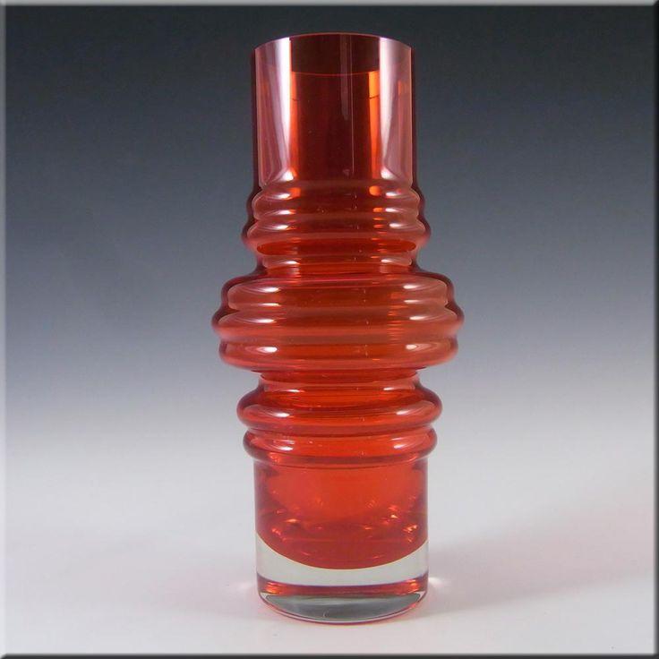 Riihimaki/Riihimaen Red Glass 'Tulppaani' Vase #1516 #2 - £40.00