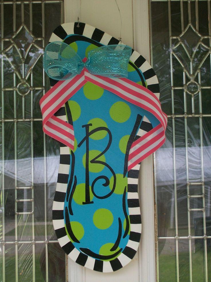 Single flip flop door hanger w/initial. $