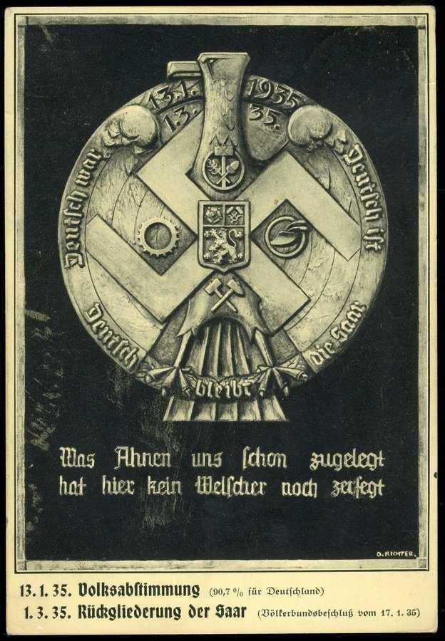 Saar-Rückgliederung: s/w.-Propagandakarte mit symbolischer Darstellung, Silberplakette nach einem Entwurf von D. Richter, echt gelaufen 1935