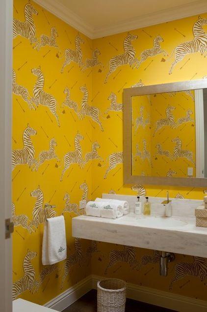 Bold wallpaper in the bath room / powder room art deco Zebras by Scalamandré #TheHurstTeam #Houzz