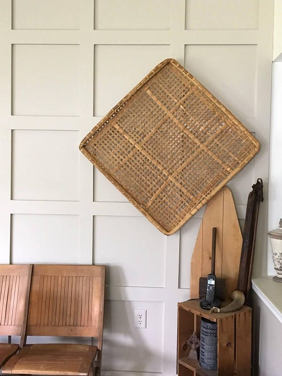 Large Wall Basket Vintage Tobacco Basket 32 Inch Square Flat