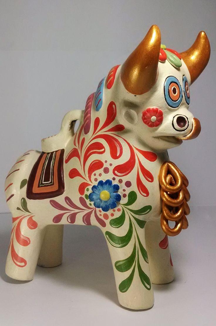 Toro de Pucara, Sierra Sur del Perú. Pieza de cerámica de 25cm de altura aproximadamente.  Encuentra más información en https://www.facebook.com/perukuyaypacha