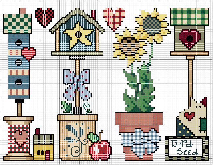 #birdhouse #cross-stitch #cat #sunflower #heart #spool #flowerpot #butter churn #bow #house