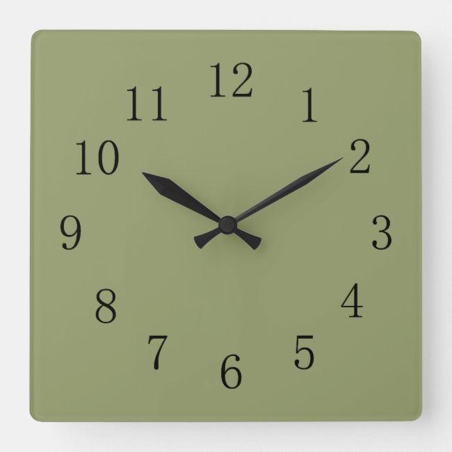 Avocado Green Square Wall Clock