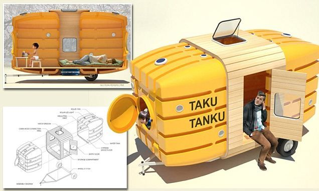 Water Tank Shelter : Superlight home made from plastic water tanks tank