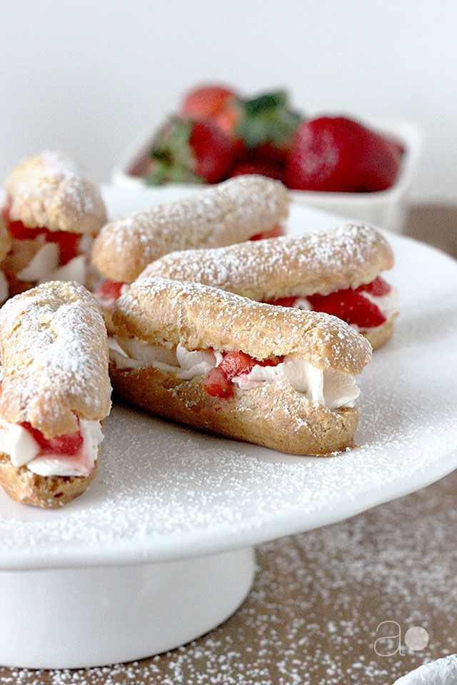 Mini Strawberries and Cream Eclairs (1) From: Ambrosia Baking, please visit
