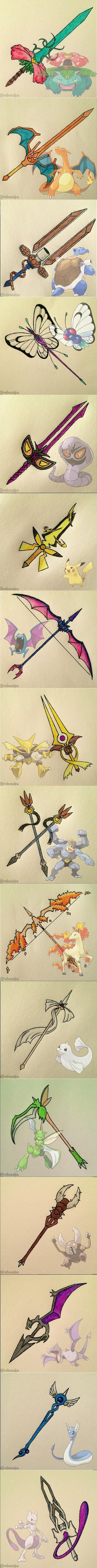 Pokémon Weapon Art. I have to say, I love Charizard's, Blastoise's, Rapidash's, and Dratini's weapons!