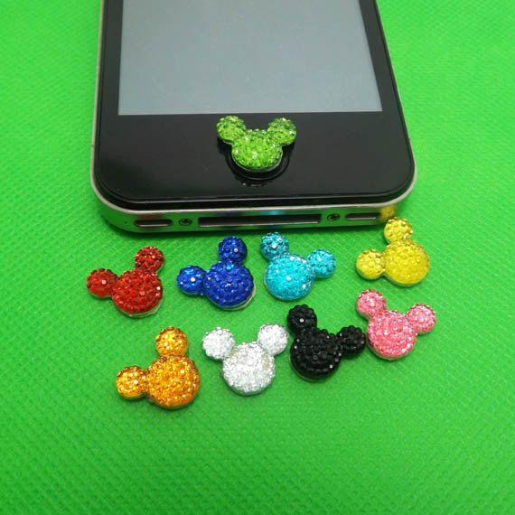 Crystal Minnie Mickey Home Button Sticker for iPhone 3,4,4s,5,ipad 2,3,4,iPod Touch 2,3,4,5