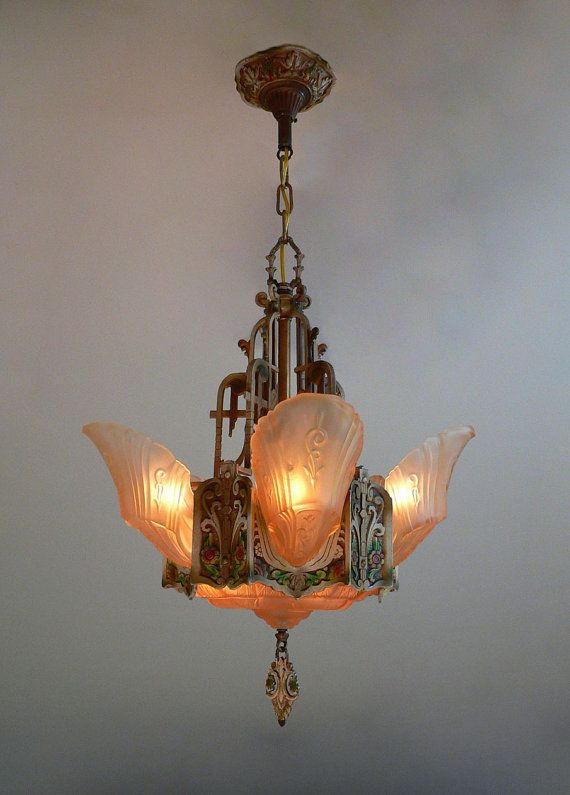 Antique Art Deco slip shades chandelier by Markel by Deconites - 2310 Best Light OBSESSION Images On Pinterest Art Deco Lighting