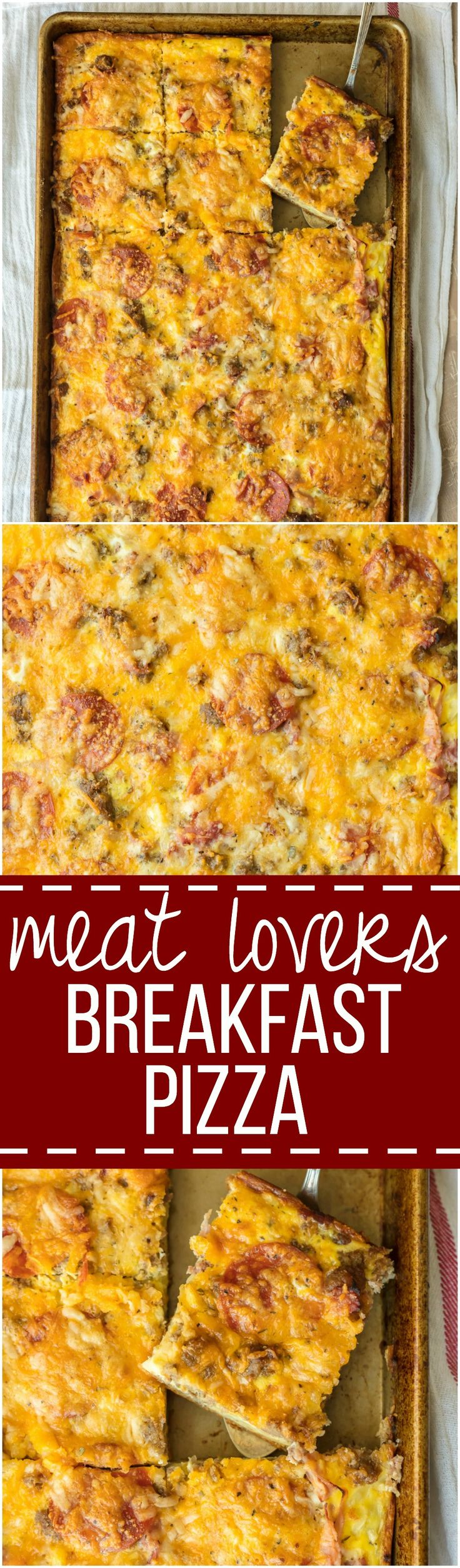 MEAT LOVERS BREAKFAST PIZZA - 375°F - Loaded with pepperoni, bacon, sausage, hamburger, egg, hash browns, and cheese! BEST SHEET PAN BREAKFAST PIZZA EVER!