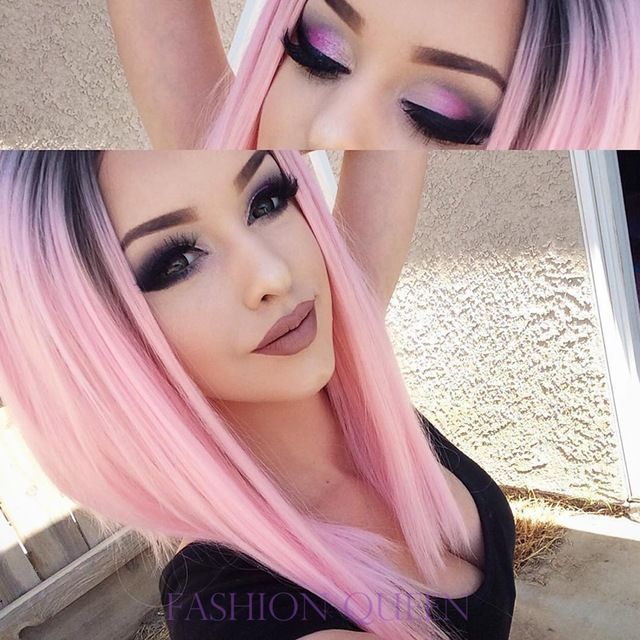 Dark black root pink synthetic lace front wig 10-16 inch short straight hair bob lace wig africa american cosplay wig for woman