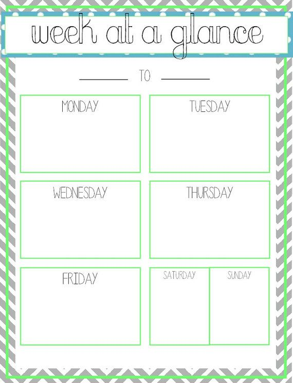 Week at a glance - Printable | Office Ideas | Pinterest ...