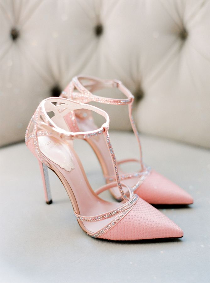 Chic + sparkly pink wedding shoes: http://www.stylemepretty.com/2015/12/15/summer-blush-peach-wedding-in-portugal/ | Photography: Brancoprata - http://www.brancoprata.com/
