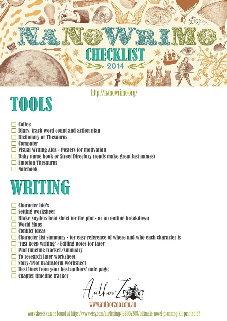 Free nanowrimo (National November Writers Month) checklist -  Nov is on the way!!