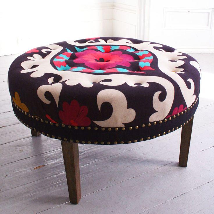Suzani Print Bath Button Footstool