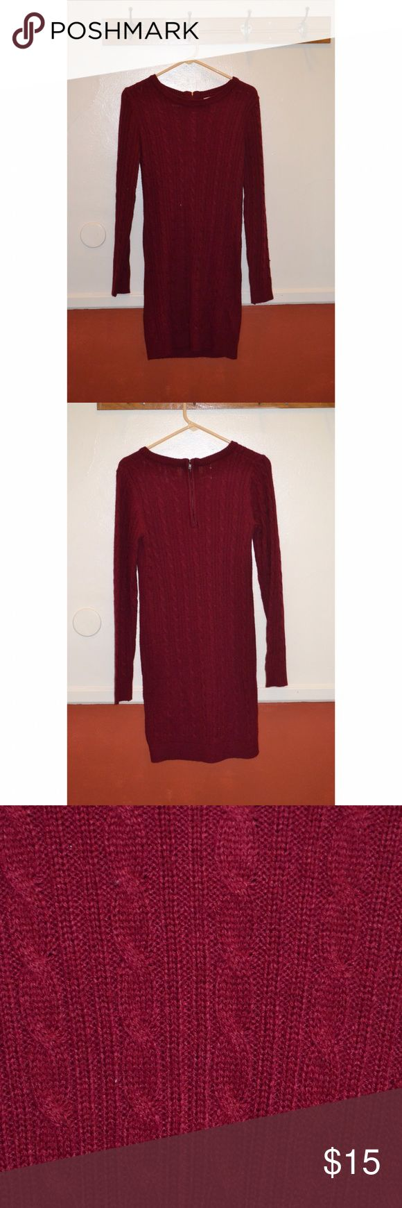 Maroon sweater dress Knitted sweater dress. Zipper in back. Form fitting but no tight. Length is about mid thigh. (I'm 5'5.) worn a couple times, still in great condition. Soft, not at all itchy. Has a little give to it, it's a medium and I typically wear larger or extra large, so truthfully I think would fit either medium or large. Forever 21 Dresses Long Sleeve