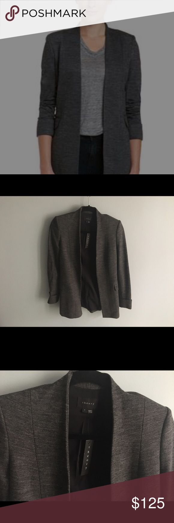 Theory Tivona Blazer Brand new, never worn. A flattering, slim silhouette and open front define this polished blazer in lightweight suiting fabric. Shawl lapel, open front, folded cuffs, back vent, fully lined. Theory Jackets & Coats Blazers