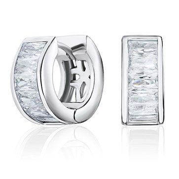 EARRINGS KAGI TIMES SQUARE STERLING SILVER RHODIUM PLATED SET WITH BAGUETTE CUT WHITE CUBIC ZIRCONIAS HUGGIES - Jons Family Jewellers
