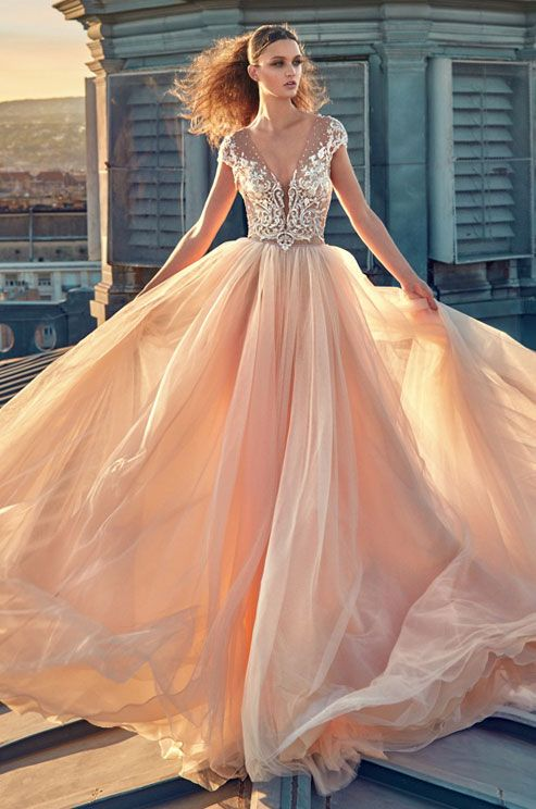Tull A-line wedding dress with illusion v-neckline. Gala by Galia Lahav Fall 2016 Ready to Wear Collection