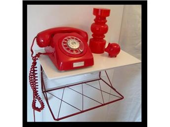 String Telefonhylla/Stringhylla - Vit & Röd - Retro 50tal
