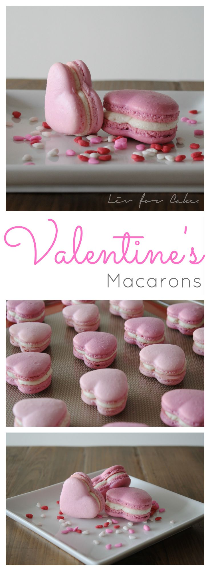 What better way to celebrate Valentine's Day than with some pretty pink heart macarons. Filled with a cinnamon buttercream. | livforcake.com