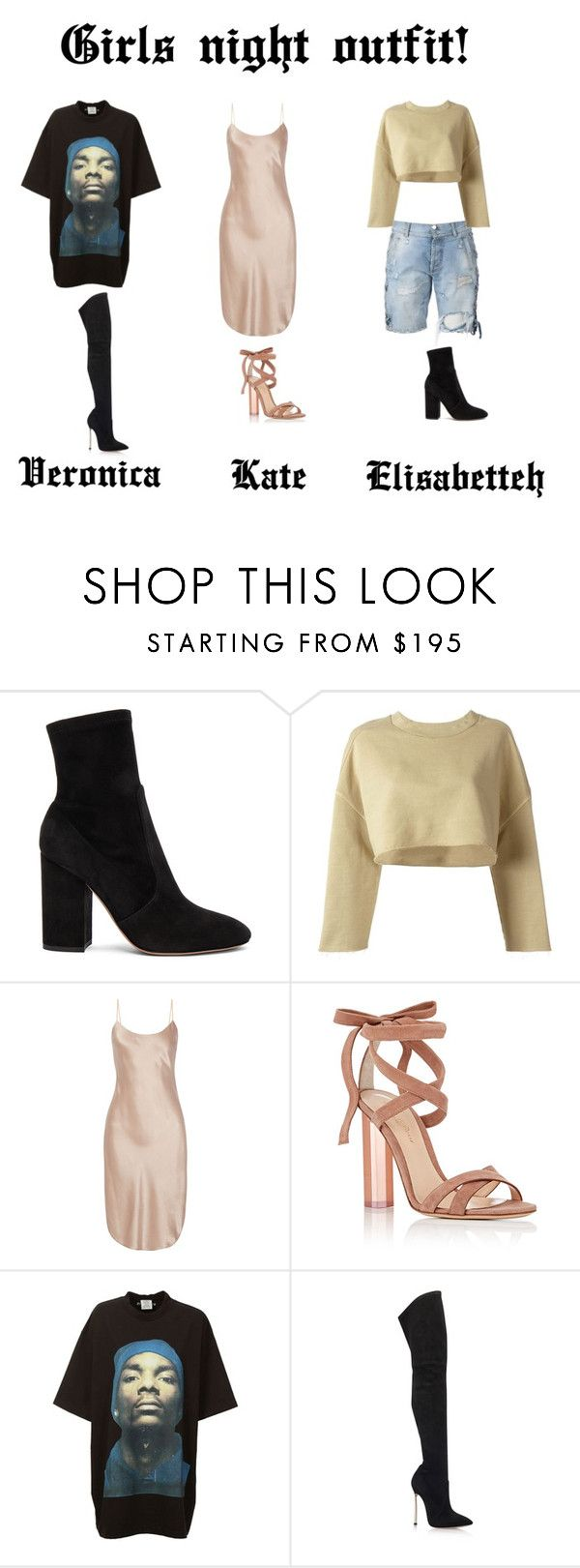 """Girls night"" by ghappyg on Polyvore featuring Faith Connexion, Valentino, adidas Originals, Maiyet, Gianvito Rossi, Vetements and Casadei"