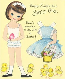 """1960 """"To a SWEET GIRL"""" PAPER DOLL EASTER Card (SWEET GIRL 1 of 3)"""