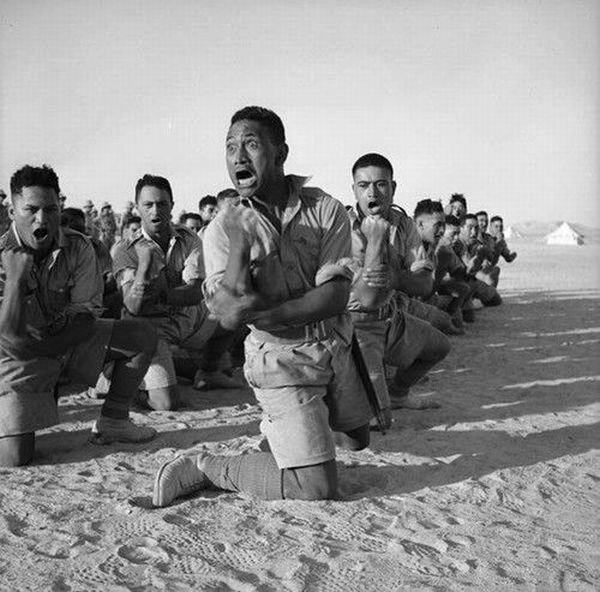 Kamate. (New Zealanders performing the haka before battle during WWII).